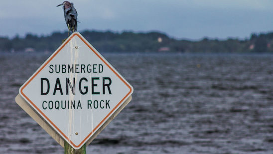 Danger Coquina Rock sign
